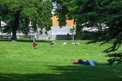 VIENNA, AUSTRIA - MAY 26: People are resting and relaxing in popular public Burggarten park in warm sunny day in Vienna, Austria,. On May 26, 2019, beautiful royalty free stock photography