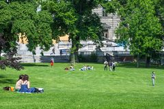 VIENNA, AUSTRIA - MAY 26: People are resting and relaxing in popular public Burggarten park in warm sunny day in Vienna, Austria,. On May 26, 2019, beautiful royalty free stock photo