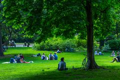 VIENNA, AUSTRIA - MAY 26: People are resting and relaxing in public Stadtpark park in warm sunny day in Vienna, Austria, on May 26. 2019, beautiful, city royalty free stock image