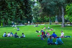 VIENNA, AUSTRIA - MAY 26: People are resting and relaxing in public Stadtpark park in warm sunny day in Vienna, Austria, on May 26. 2019, beautiful, city stock photos