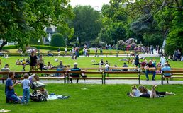 VIENNA, AUSTRIA - MAY 26: People are resting and relaxing in public Stadtpark park in warm sunny day in Vienna, Austria, on May 26. 2019, beautiful, city stock photo