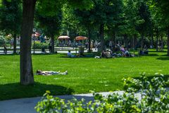 VIENNA, AUSTRIA - MAY 26: People are resting and relaxing in public Volksgarten park in warm sunny day in Vienna, Austria, on May. 26, 2019, beautiful, city stock photo