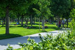 VIENNA, AUSTRIA - MAY 26: People are resting and relaxing in public Volksgarten park in warm sunny day in Vienna, Austria, on May. 26, 2019, beautiful, city stock image