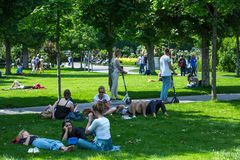 VIENNA, AUSTRIA - MAY 26: People are resting and relaxing in public Volksgarten park in warm sunny day in Vienna, Austria, on May. 26, 2019, beautiful, city stock photography