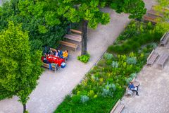 VIENNA, AUSTRIA - MAY 25: People are resting and relaxing in public Weghuberpark park in warm sunny day in Vienna, Austria, on May. 25, 2019, beautiful, city stock image