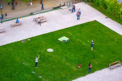 VIENNA, AUSTRIA - MAY 25: People are resting and relaxing in public Weghuberpark park in warm sunny day in Vienna, Austria, on May. 25, 2019, beautiful, city royalty free stock photo