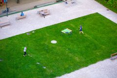 VIENNA, AUSTRIA - MAY 25: People are resting and relaxing in public Weghuberpark park in warm sunny day in Vienna, Austria, on May. 25, 2019, beautiful, city stock photography