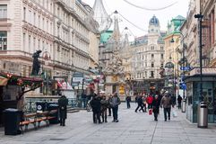 Graben street with shops and restaurants in Vienna, Austria. VIENNA, AUSTRIA - NOVEMBER 26, 2013: City center Graben street with shops and restaurants full of Royalty Free Stock Photo