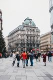 People walking on Stephansplatz, Vienna, Austria stock images