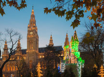 VIENNA, AUSTRIA - NOVEMBER 14, 2010: The towers of town-hall and christmas market decoration Royalty Free Stock Images