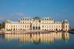 Belvedere Palace and garden in Vienna. The Main palace - Upper Belvedere. Austria royalty free stock photography