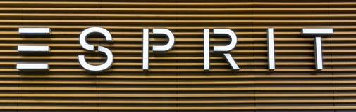 VIENNA, AUSTRIA - October 2: Logo above Esprit store on Mariahilfer strasse in Vienna center, Austria, Europe October 2 2016 stock image