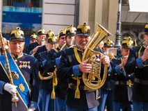 Military brass orchestra plays at street in Vienna Royalty Free Stock Photography