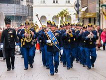 Military brass orchestra plays at street in Vienna Royalty Free Stock Images