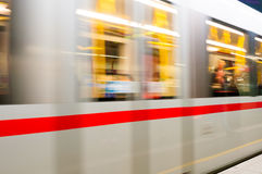 VIENNA, AUSTRIA - OCTOBER 12, 2015: Moving subway train at Schwe Stock Photo