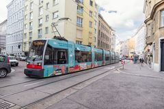 VIENNA, AUSTRIA - OCTOBER 09, 2016: Public Transport in Vienna, Austria. Tram and Train. Royalty Free Stock Images