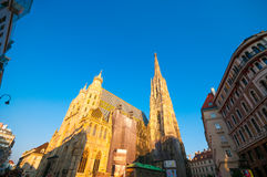 VIENNA, AUSTRIA - OCTOBER 12, 2015: St. Stephan Cathedral at sun Royalty Free Stock Images