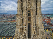 VIENNA, AUSTRIA - OCTOBER 10, 2016: Tower and roof of St. Stephen`s Cathedral, Vienna, Austria. Stock Images