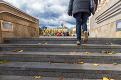 VIENNA, AUSTRIA - OCTOBER 05, 2016: Vienna and Metro Station Stairs. Woman Walking Up. Stock Photo