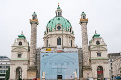 VIENNA, AUSTRIA - OCTOBER 20, 2015: View of famous Saint Charles Stock Photography