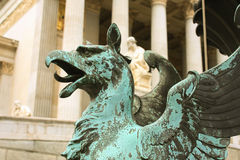 Vienna; austria; parliament and sculpture of mythological beings Royalty Free Stock Photography