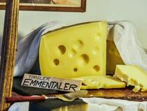 VIENNA, AUSTRIA - SEPTEMBER 8, 2017. Emmentaler cheese in Tirol House at the Schonbrunn zoo, Vienna, Austria. Emmentaler cheese in Tirol House at the Schonbrunn Stock Photos