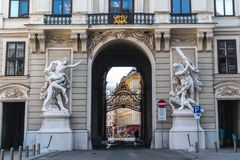 Vienna, Austria - September 2017 - the Hofburg inner castle of the old statue in the arch of the passage Royalty Free Stock Photo