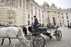 Horse-drawn carriage in Vienna Stock Photography