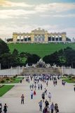 Vienna, Austria, September , 15, 2019 - View of tourists on Gloriette structure and Neptune fountain in Schonbrunn royalty free stock photography