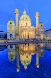 Vienna, Austria. St. Charles`s Church Karlskirche at twilight royalty free stock image