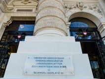 Vienna. austria. supreme court Royalty Free Stock Photos