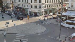 Vienna/Austria - 09 15 2018: Timelapse on Vienna street tourist info point albertina platz.  stock video footage
