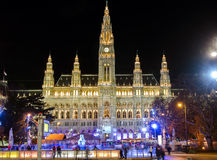 VIENNA, AUSTRIA. Town hall and skating rink Wiener Eistraum Stock Photography