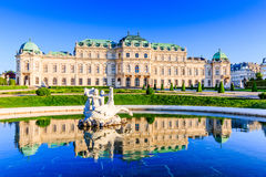 Vienna, Austria. Upper Belvedere Palace with reflection in the water fountain royalty free stock images