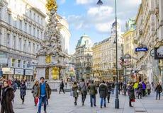 VIENNA, AUSTRIA, via di Graben Immagini Stock Libere da Diritti