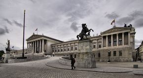Vienna, Austrian parliament building (Hohes Haus) Stock Photography