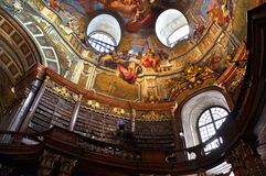 Vienna baroque library. Inside the beautiful Austrian National Library in Vienna. Est in 18th century, the largest library in Austria with 7.4 mill items stock photography