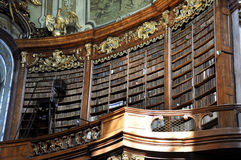 Vienna baroque library. Inside the beautiful Austrian National Library in Vienna. Est in 18th century, the largest library in Austria with 7.4 mill items Royalty Free Stock Images