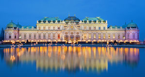 Vienna - Belvedere palace at the christmas market. In dusk Stock Photography