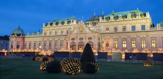Vienna - Belvedere palace at the christmas market. In dusk Royalty Free Stock Image