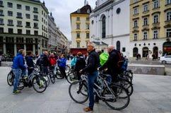 Vienna, bike tourists guided tour Royalty Free Stock Photo