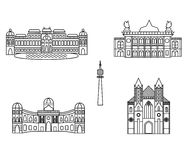 Vienna black silhouette city skyline buildings vector icon Stock Image