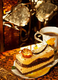 Vienna cake with almond and caramel in cafe Stock Photo