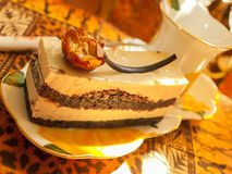 Vienna cake with almond and caramel in  the cafe Royalty Free Stock Photography