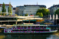 Vienna Canal and ferry boat Royalty Free Stock Photos