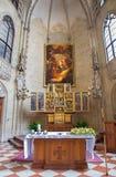 Vienna - chiesa del eith teutonico di Deutschordenkirche o di ordine l'altare scolpito gotico delle ali Fotografie Stock Libere da Diritti