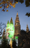 Vienna - christmas decoration. Castle and town-hall Stock Image