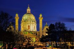 Vienna christmas market Charles Square Royalty Free Stock Image