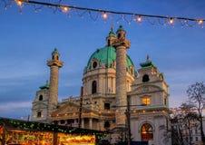 Vienna christmas market Charles Square. Vienna in Austria, christmas market on Charles Square Royalty Free Stock Images