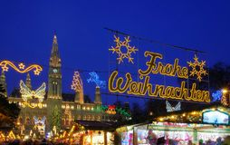 Vienna christmas market. Vienna, the christmas market by night Stock Images